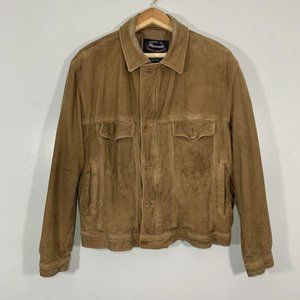 Faconnable Brown Goats Skin Leather Button Jacket